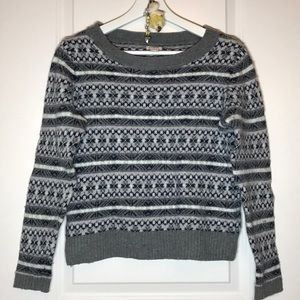 J. Crew Black and Grey Patterned Sweater, S